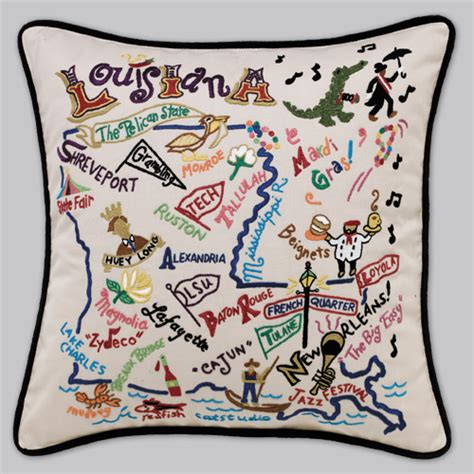 Embroidered State Pillows by Cat Studio Embroidered State Pillow Louisiana
