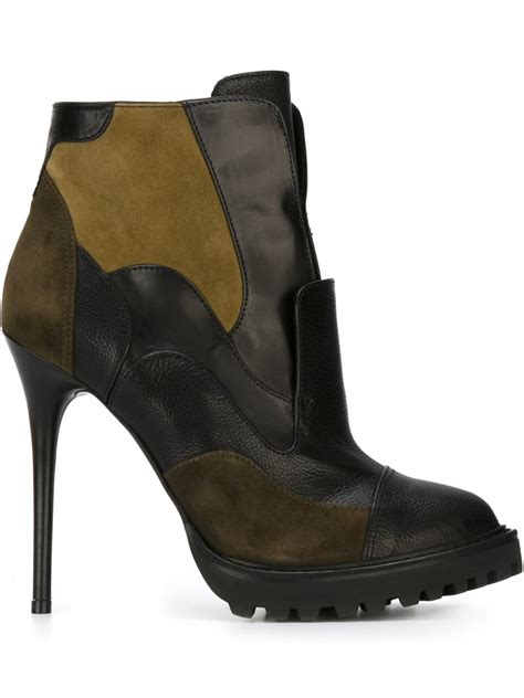Patchwork Boots Womens - mcqueen patchwork ankle boots in black lyst