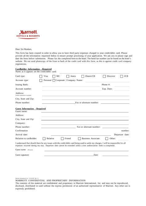 Hotel Credit Card Authorization Template Free Marriott Credit Card Authorization Form Pdf Eforms Free Fillable Forms