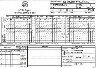 printable usa volleyball score sheets keeping score in volleyball