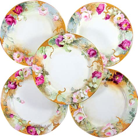 antique porcelain l with roses signed antique limoges porcelain painted roses