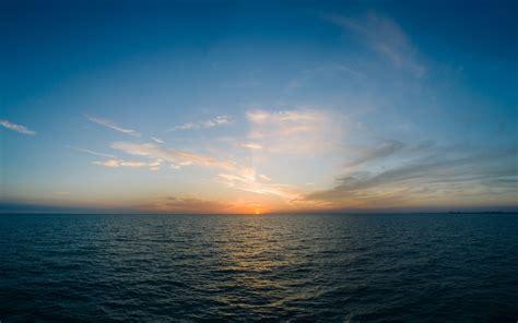 wallpaper  sea horizon sunset clouds