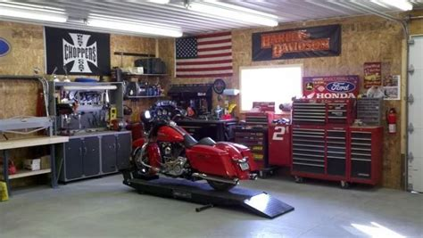 home garage workshop harley motorcycle workshop my garage pinterest