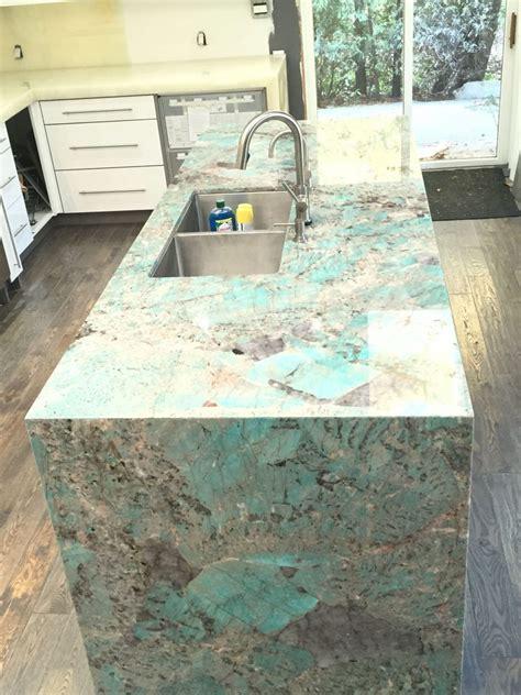 Amazonite quartzite island and onyx kitchen   MaxSpace