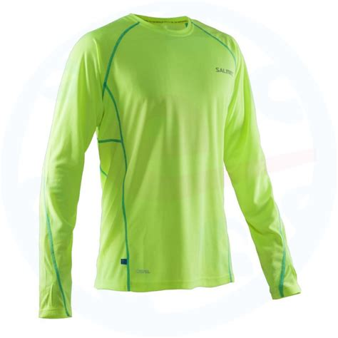 Green Ceramic Ls by Salming Run Ls Safety Yellow Ceramic Green Shirt