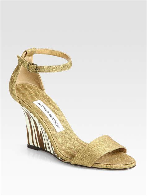 Sandal Wedges Gold Pesta lyst manolo blahnik woven metallic zebraprint wedge sandals in metallic