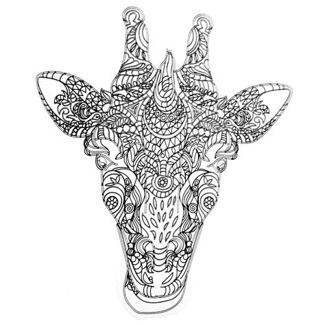 giraffe coloring page for adults colors of nature adult colouring book giraffe coloring