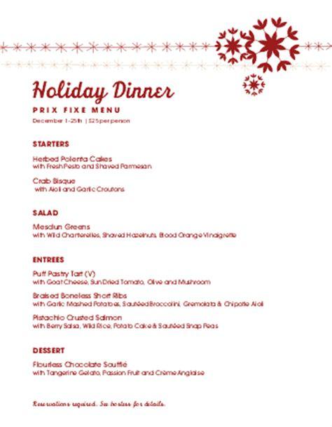 prix fixe menu template prix fixe menu letter menus