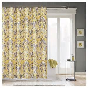 milan ikat print shower curtain grey yellow target