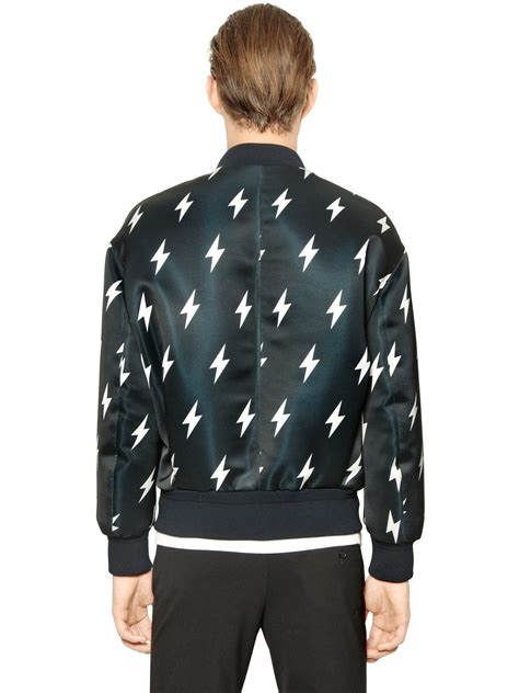 Boomber Navy Flash lyst neil barrett flash printed padded bomber jacket in blue for