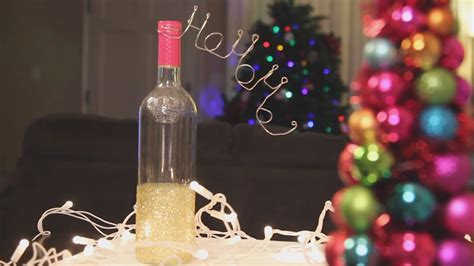 christmas glitter wine bottle decoration diy youtube