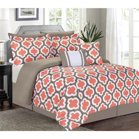 greengate 7 piece comforter set coral king check