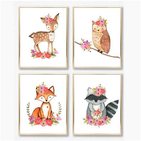 free printable animal wall art girl woodland nursery print set girl wall art baby girl