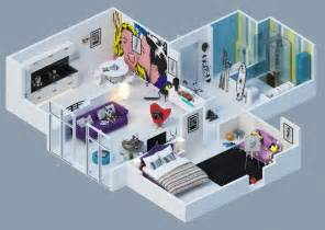 Room Layouts For Small Bedrooms - colorful pop art apartment interior design ideas