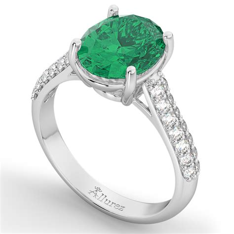 oval emerald engagement ring 18k white gold 4
