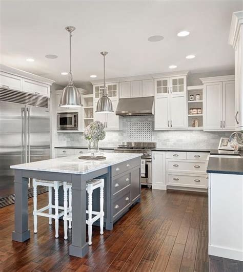 gray and white kitchen cabinets white marble kitchen with grey island house ideas