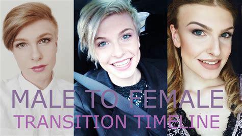 feminization transition male to female transition timeline youtube