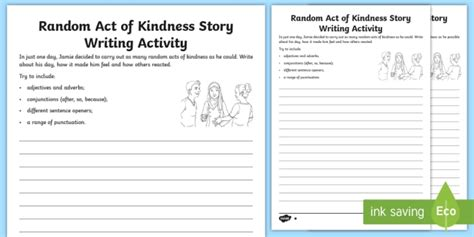 ks2 ideas for story writing ks2 random acts of kindness story writing differentiated