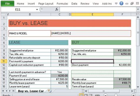 Car Lease Calculator Excel Template Car Buy Vs Lease Calculator For Excel