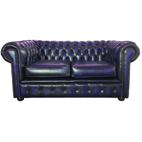 Chesterfield Two Seater Sofa by Chesterfield Antique Blue Genuine Leather Two Seater Sofa