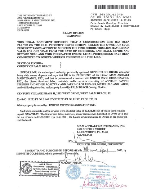 Lien Release Letter Bank Of America Our In West Palm April 2012