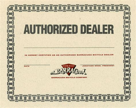 authorized dealer certificate dealer certificate format sle image collections