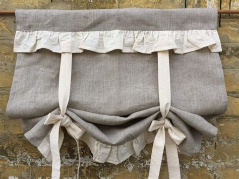linen curtains ruffled country kitchen tie  valance