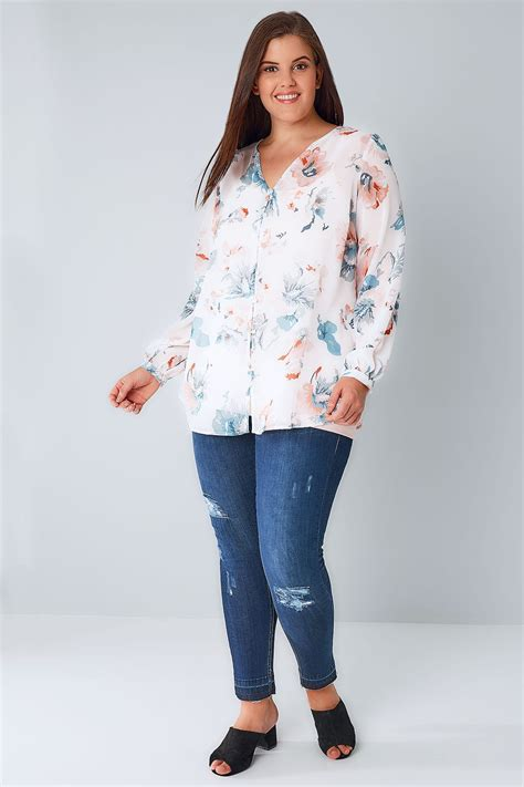 Sm Blouse Bugsize Wash Biru Blouse Size Wash Biru white multi pretty floral print chiffon blouse plus size 16 to 36