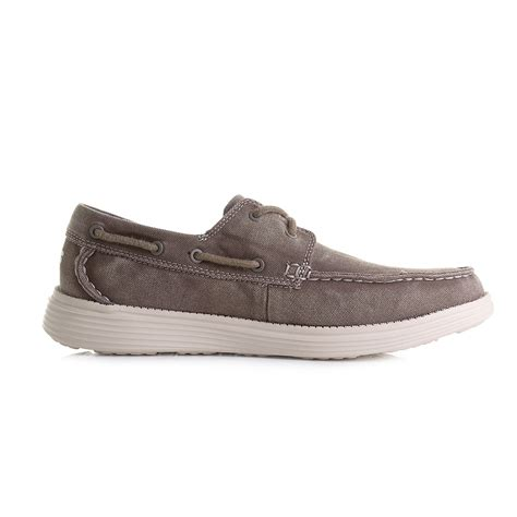 mens skechers status melec light brown relaxed fit casual
