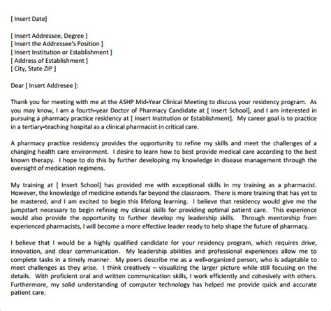 Thank You Letter Pharmacy Residency sle cover letter for pharmacy manager pharmacy