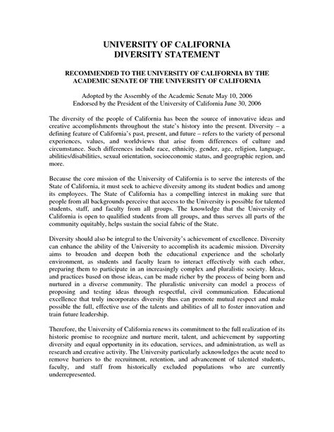 diversity statement sle template best template collection