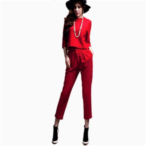 Miniso Womens Fashionable White pant suits for new 2016 fashion solid womens suits crop tops blazer with