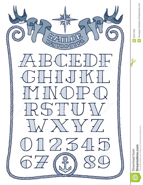 vintage tattoo numbers sailor tattoo type stock vector image of letters