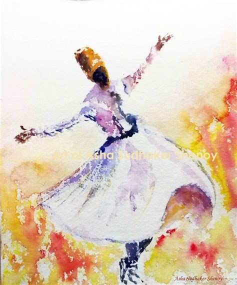 Watercolor On Handmade Paper - whirling dervish dancer in watercolors on handmade paper