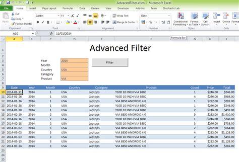 template filter excel vba sort sonic activex components