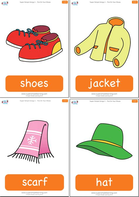 Fles Cardi put on your shoes flashcards simple