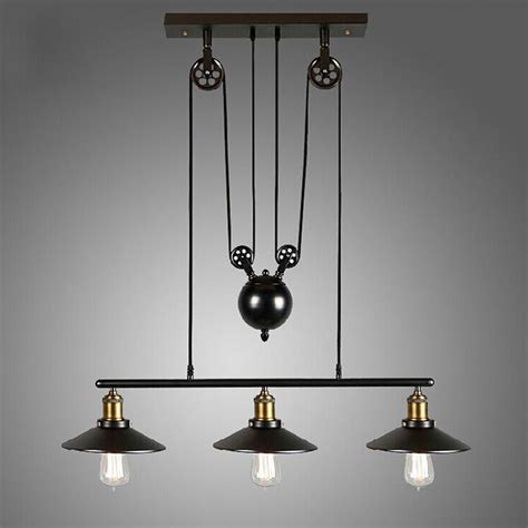 Retro Hanging Light Fixtures Vintage Pulley Pendant Loft Ceiling Light Hanging L Artistic Lighting Fixture Ebay