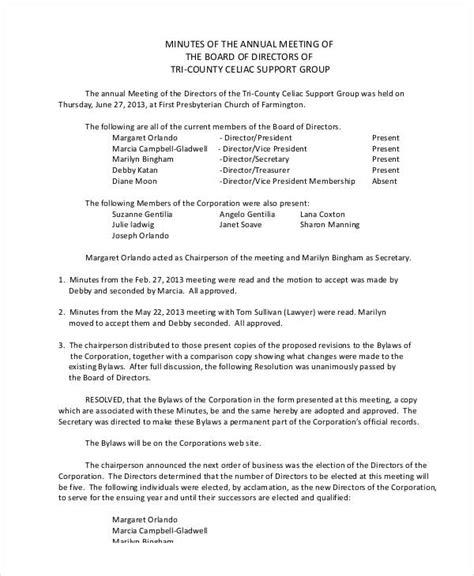 annual board of directors meeting minutes template annual meeting minutes template 9 free pdf documents