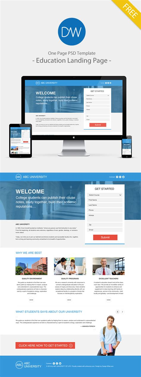 one page landing page template one page psd template education landing page on behance