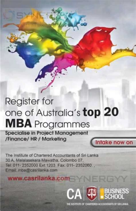 Best In Australia For Mba In Hr by Australian Mba From Ca Srilanka Intakes Open Now 171 Synergyy
