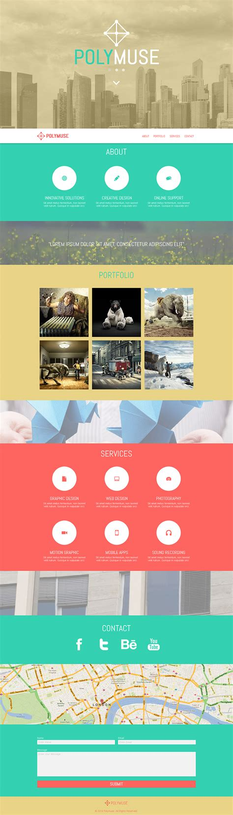 polymuse one page parallax muse template by pixelladyart
