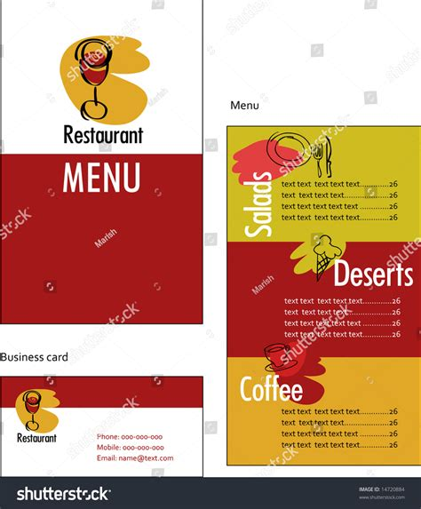 business menu template template designs menu business card restaurant stock