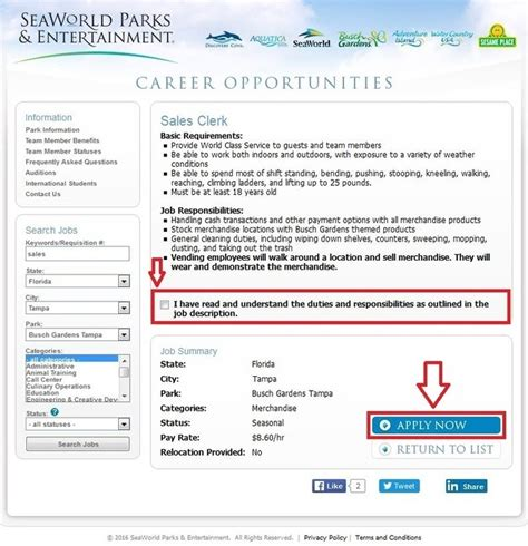 how to apply for busch gardens at careers