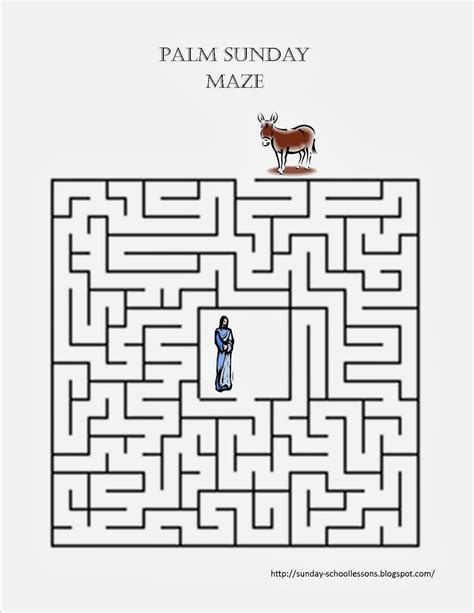 printable maze passages palm sunday maze sunday school activities print this