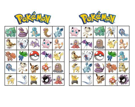 printable games bingo musings of an average mom pokemon bingo