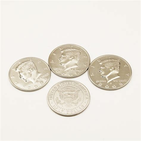 1 set 5 6cm diameter four coin to one big half dollar magic tricks props coin up stage