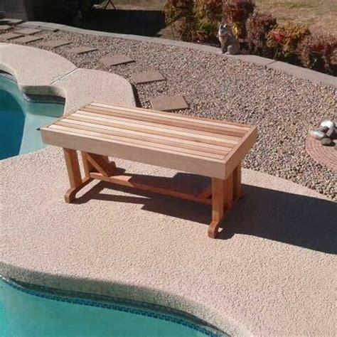 poolside benches 18 quot x 42 quot freestanding cedar bench no visible fasteners