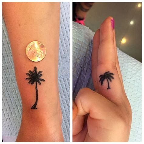 Finger Tattoo Palm Tree | 9 palm tree finger tattoos