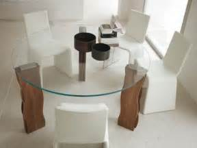 modern glass kitchen table with wood round your kitchen