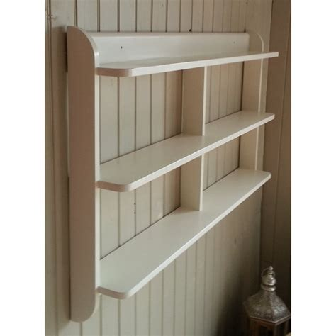 wide wall mounted open back shelf unit painted kitchen